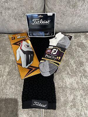 Titleist Tri Fold Towel, Bridgestone Cabretta Glove Small, FJ Socks