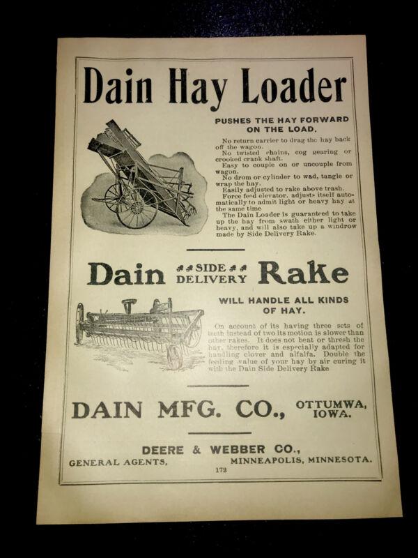 1908 Dain Loader & Rake Farm Advertising - Ottumwa - Iowa