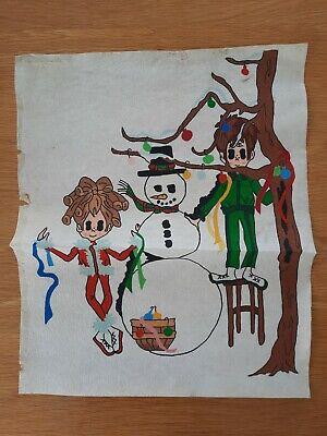 Set of 4 Vintage Kitsch Textile Art / Big-Eyed Child Felted Retro