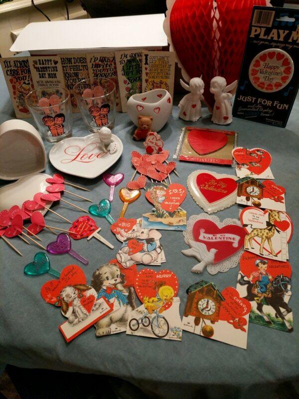 Huge Vintage Valentines Day Lot Love Is Glasses Hallmark Kissing Angels 58 pc