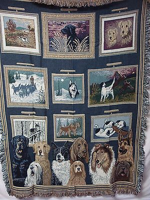 USA Made NWOT Dog Days At The Gallery Tapestry Throw Blanket Afghan #543