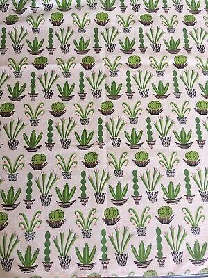 148cms Organic Cotton White Green Cactus per Half Meter