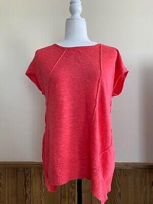 Eileen Fisher Coral Organic Linen Blend Short Sleeve Sweater Sz S