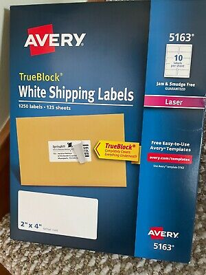 Avery 5163 Laser 2 X 4 Trueblock White Shipping Labels 125 Sheets 1250 Labels