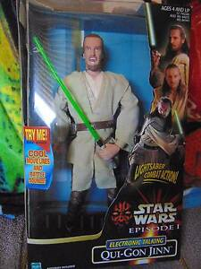 """Star Wars Electronic Talking Qui-Gon Jinn 12"""" figure Coombabah Gold Coast North Preview"""