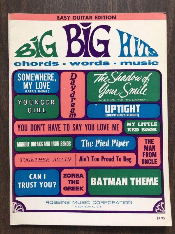 Chords Words Music VTG 1966 BIG BIG HITS Easy Guitar Edition Sheet Song Book