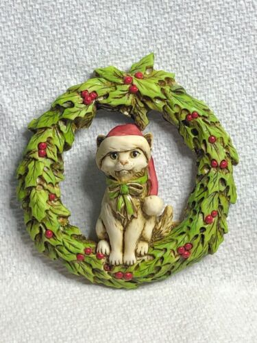Neil Eyre Eyredesigns Christmas Santa Hat Kitty Cat Wreath Holly Ivy Magnet