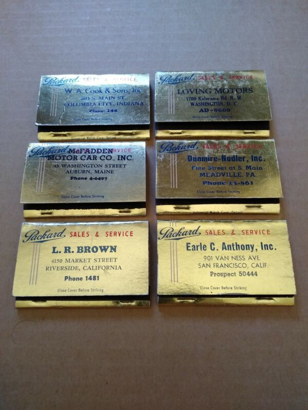 Lot Of Diff 1949 Golden Anniversary Packard Full Matchbook Covers CA DC IN PA