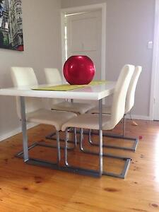 White Leather 4 seater dining suite Ashfield Bassendean Area Preview