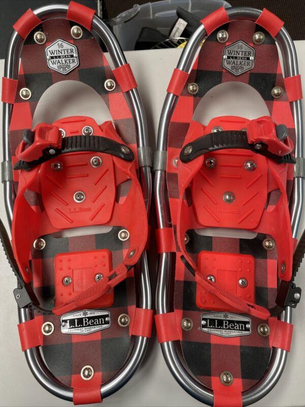 kids 16 winter walker LL Bean snow shoes red plaid