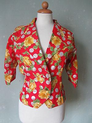Gelb L/s Shirt (Vintage Bluse Shirt Jacke kurz rot gelb Rosenmuster Punkte 60er 70er 40 L (S19)*)