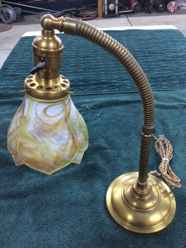 Antique Original Faries Style Lamp W/ Incredible Art Glass Shade