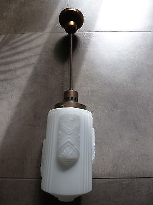 ART DECO Lampe Deckenlampe Bauhaus lamp 1930 weiß Glas Messing Gispen Stange