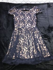 Nude and navy lace dress