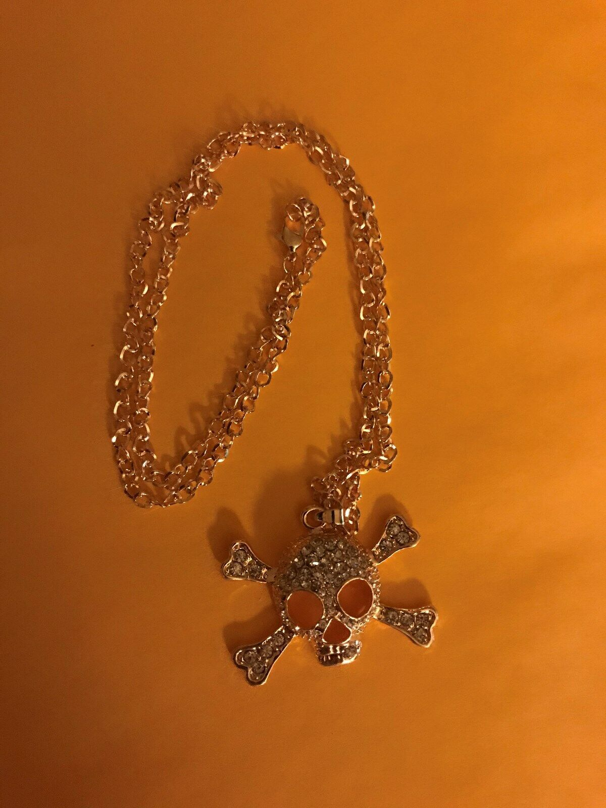 PIRATE SKULL AND CROSS BONES WITH WHITE STONES HUGE BLING NECKLACE - BRAND NEW - $20.00
