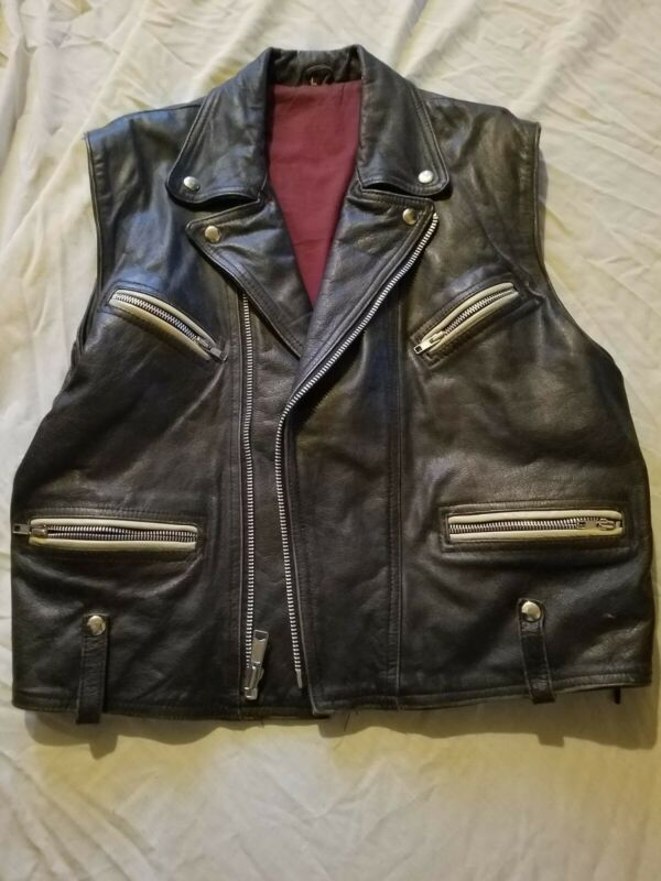 vintage 90s rock ozzy size  large sleave less leather jacket sony collection