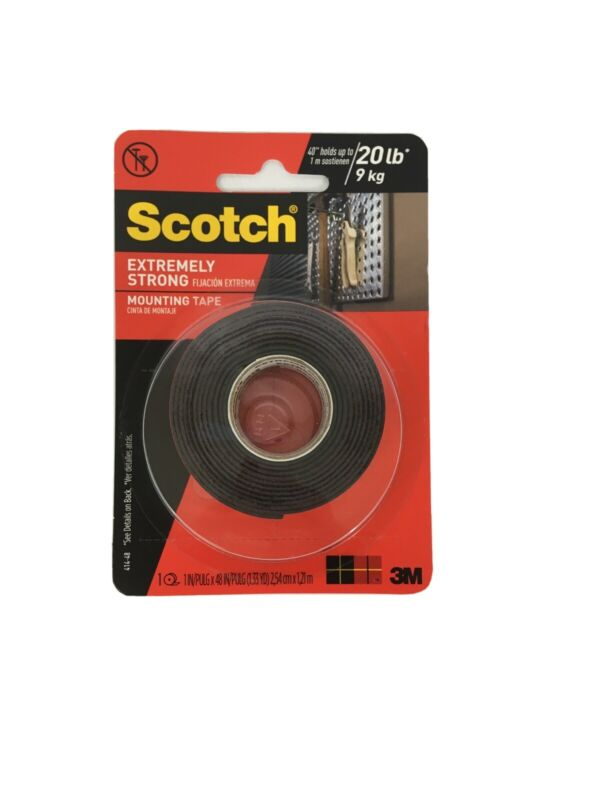 3M Scotch Extreme Mounting Tape 414-48, 1 in x 4 ft, indoor/outdoor, two sided