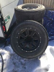 """18"""" Moto metal rims with tires."""