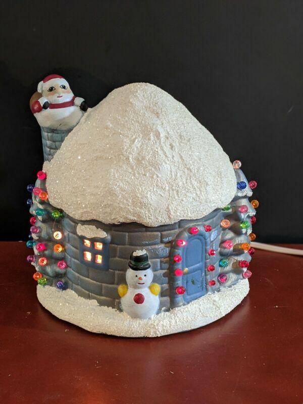 Vintage Ceramic Christmas Igloo Snow Cottage Light Up Musical Santa House