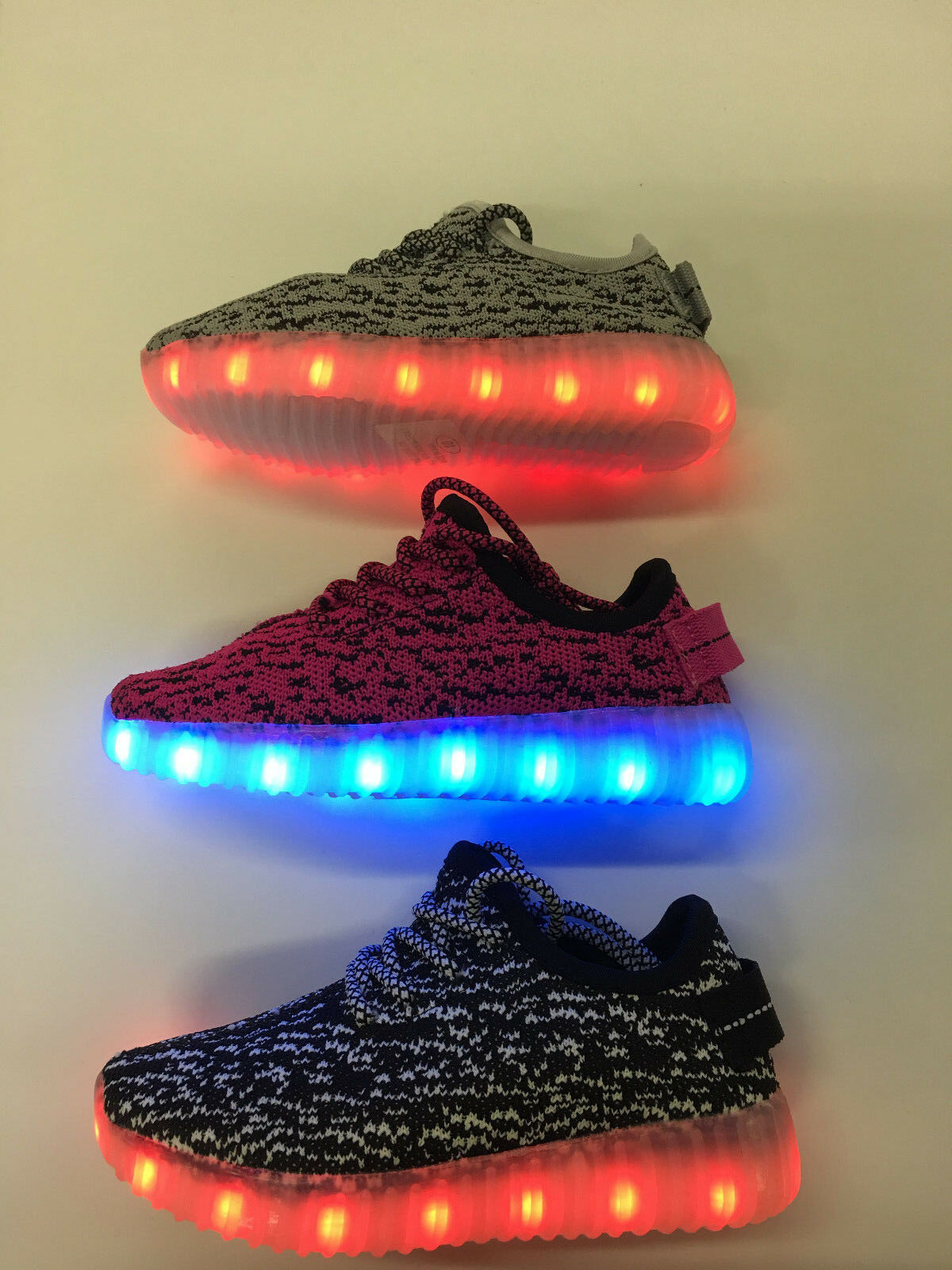 New Kids Boy's & Girl's USB Rechargeable Light Up LED Shoes Athletics Sneakers