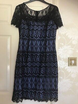 Ladies Black Lace Beaded Dress By Simon Ellis Size 12