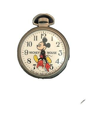 Disney 1970s' Bradley Mickey Mouse Vintage Pocket Watch Great Condition