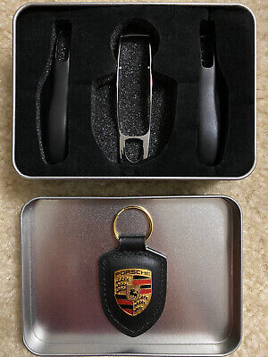Porsche OEM Key Fob Shell Case Cover Bag Black 4PC Fits Macan Cayenne 718