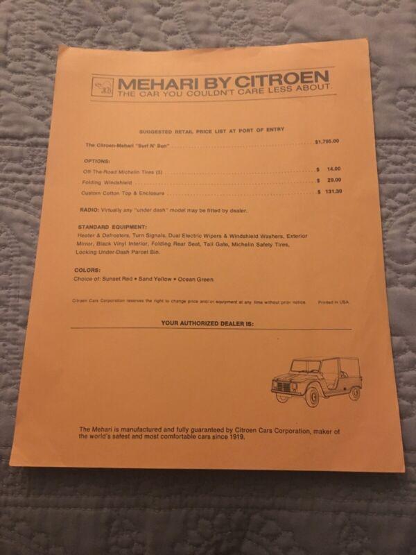 CITROEN Mehari Price List Port Of Entry USA CAR SALES Options