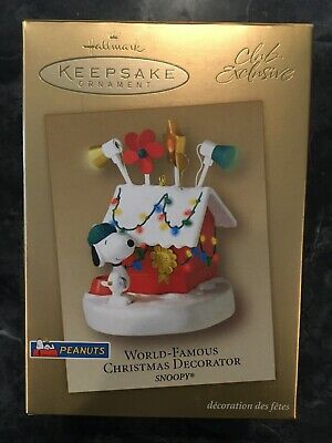 2003 Snoopy WORLD FAMOUS CHRISTMAS DECORATOR NEW Hallmark Peanuts Ornament