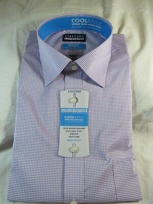 NWT STAFFORD COOLMAX STRETCH EASY CARE DRESS SHIRT REGULAR FIT Pink Mini Check