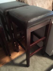 Bar height leather stools