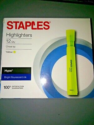 New Staples Brand Hype Tank Highlighters Yellow 12 Count Chisel Tip