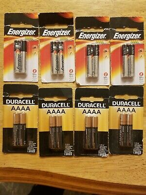 (8)Duracell AAAA Batteries 1.5V Best Before: 3/2022 & (8) Energizer AAAA