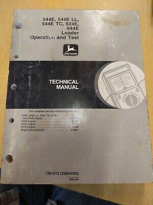 John Deere 544e 544e Ll 544e Tc 624e 644e Loader Operation And Test Technical...
