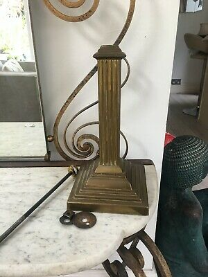 antique brass oil lamp base reeded square column