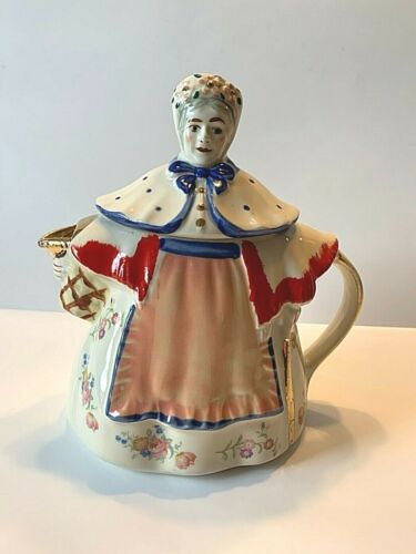 Vintage  Shawnee Pottery Granny Ann Teapot Gold Red trim shawl floral decals