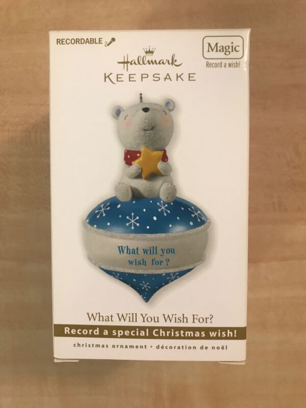 2010 Hallmark Christmas Ornament Recordable Bear What Will You Wish For? NIB