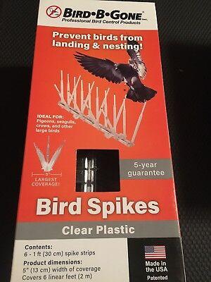 Bird-B-Gone Bird Repellent Bird Spike- Clear Plastic- 6 - 1 Ft. Spike Strip NEW