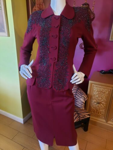 Vintage 1940s Carousal Bead Burgundy Gabardine Pencil Skirt Suit Sm