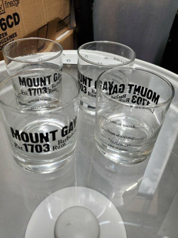 Mount Gay Rum Barbados Clear Rocks Glass set of 4 rare bar barware