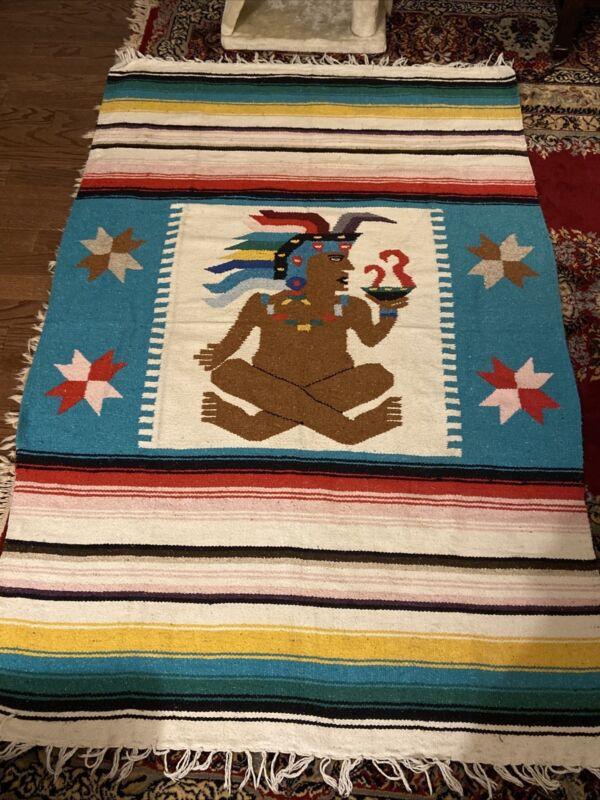 "Vintage Hand-Woven Native Indian Aztec Mayan Rug Blanket 73"" X 47"" Wool Warrior"