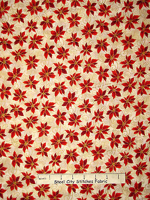 Christmas Fabric - Poinsettia Red Flowers Gold RJR 1987 Holiday Accents - Yard (Gold Christmas Fabric)