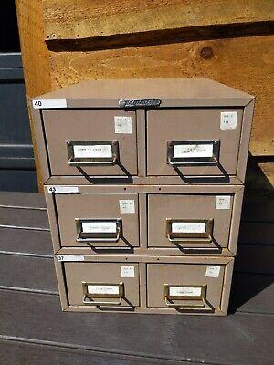 Vintage Metal Steelmaster 6-drawer Stackable Library Index Card File Cabinet