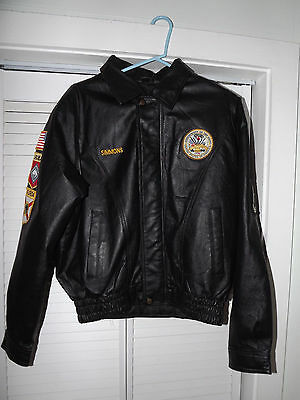 U.S. ARMY LEATHER JACKET COAT FLORIDA ARKANSAS POW*MIA PATCHES  LARGE