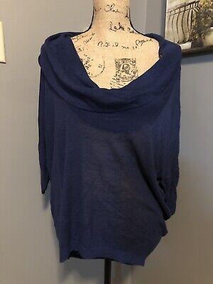 Express Shirt Sz M Blue Cowl Neck See Thru Light Weight - Express Shirt Sizes