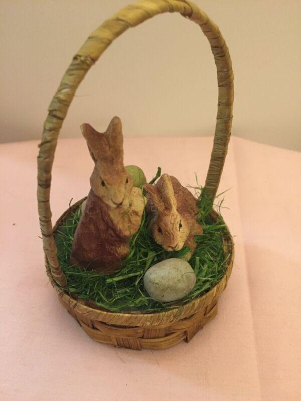Bethany Lowe Designs Easter Prim Basket Rabbits & Eggs