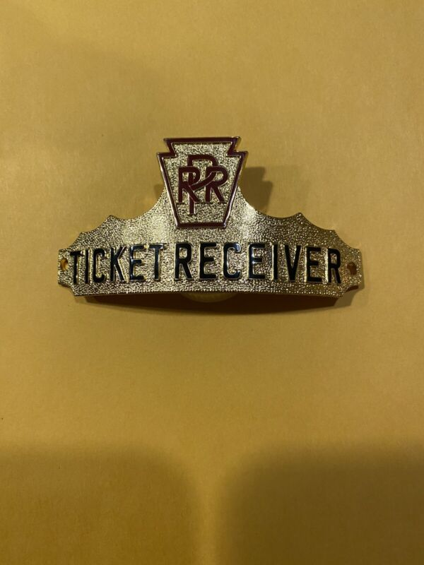 PRR PENNSYLVANIA RAILROAD TICKET RECEIVER HAT BADGE