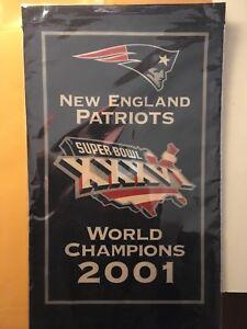 New England Patriots Banner 2001 World Champions Super Bowl XXXVI Beat LA! 1b3aa361ca78