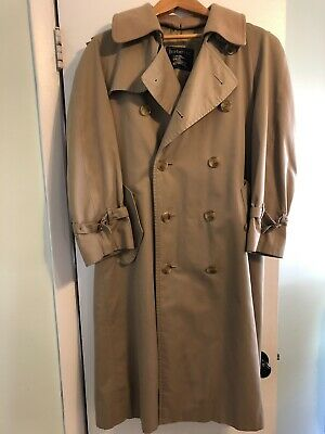 Vintage Burberry Men's Double-Breasted Classic Trench Coat Size 36 Regular