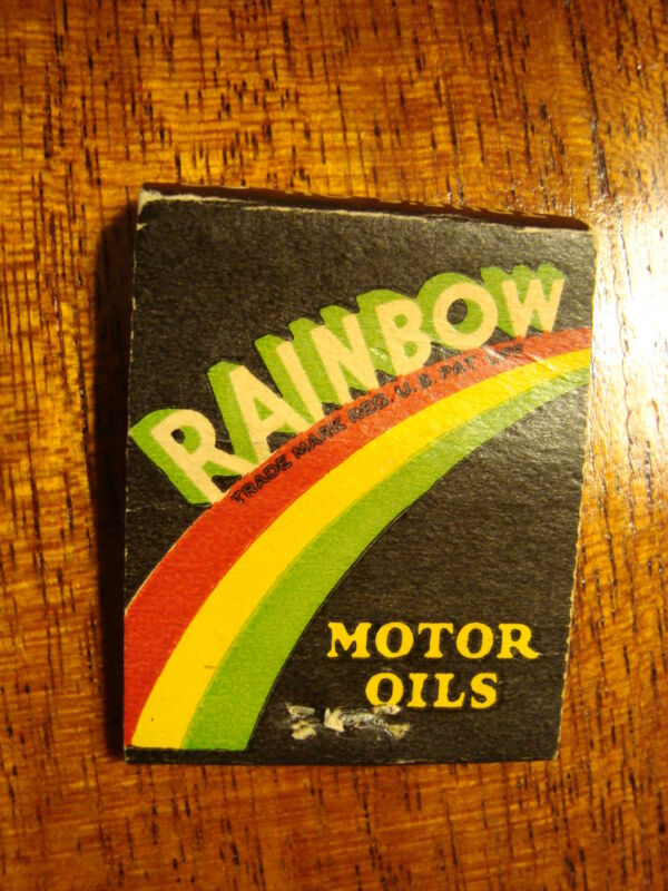 Vintage Matchbook Cover - Rainbow Gasoline Motor Oil  True